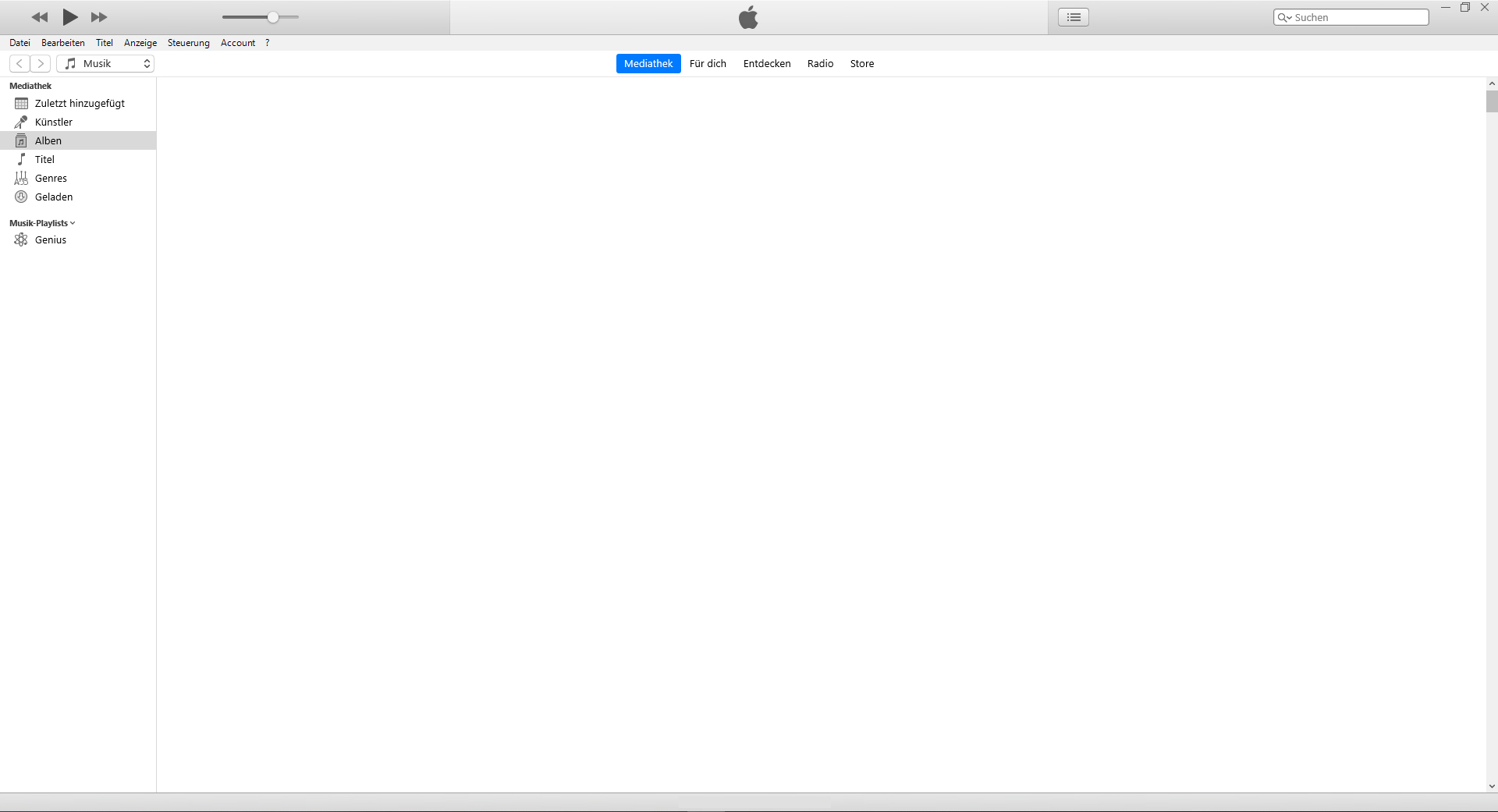 iTunes-Mediathek ist leer